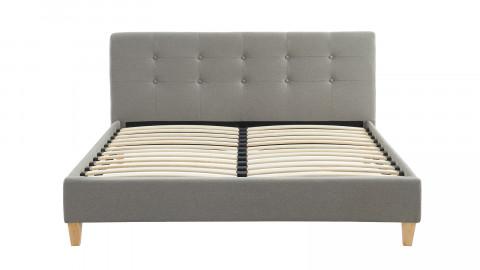 Lit adulte avec tête de lit capitonnée en tissu gris clair - sommier à lattes 140x190cm - Collection Milo
