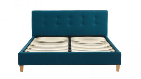 Lit adulte avec tête de lit capitonnée en tissu bleu canard - sommier à lattes 140x190cm - Collection Milo