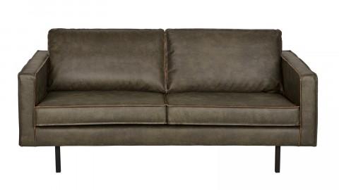Canapé 3 places en cuir brun, piètement en bois - Collection Rodéo - BePureHome