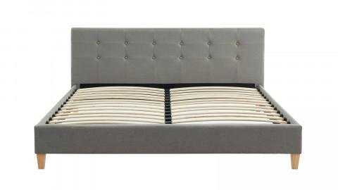 Lit adulte avec tête de lit capitonnée en tissu gris clair - sommier à lattes 160x200cm - Collection Milo