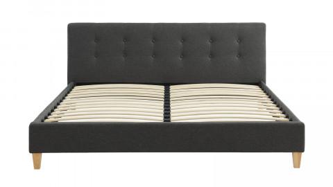 Lit adulte avec tête de lit capitonnée en tissu gris foncé - sommier à lattes 160x200cm - Collection Milo
