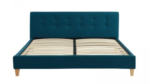Lit adulte avec tête de lit capitonnée en tissu bleu canard - sommier à lattes 160x200cm - Collection Milo