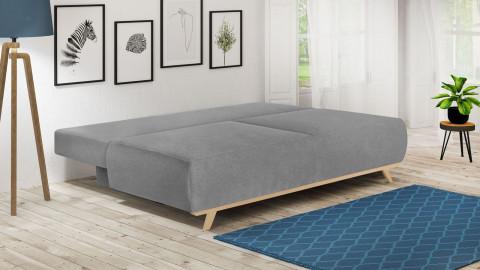 Canapé convertible 3 places avec coffre de rangement en tissu gris clair - Collection Laria