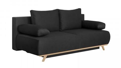Canapé convertible 3 places avec coffre de rangement en tissu gris anthracite - Collection Laria