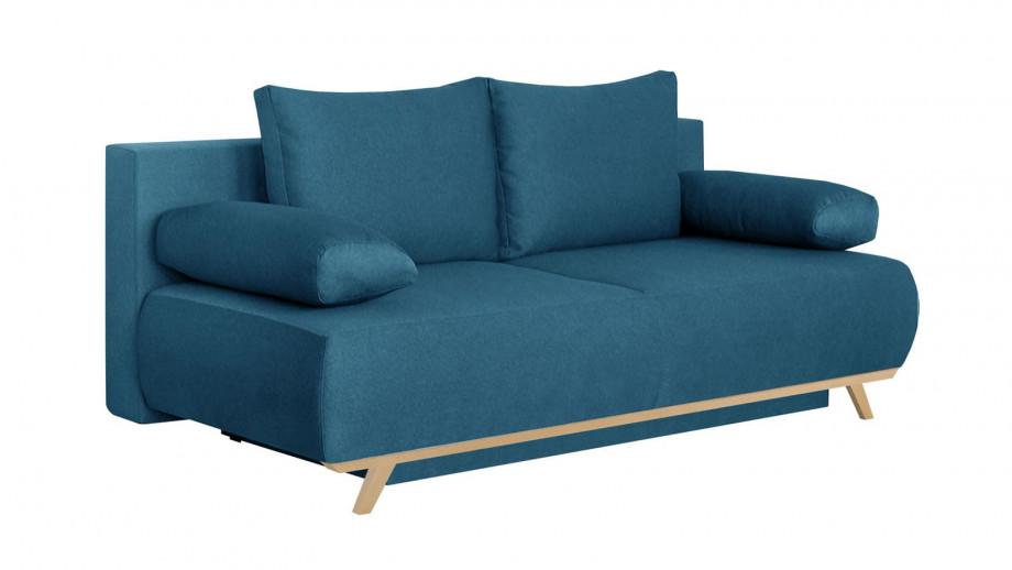 Canapé convertible 3 places avec coffre de rangement en tissu bleu canard - Collection Laria