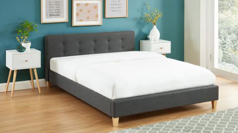 Lit adulte avec tête de lit capitonnée en tissu gris foncé - sommier à lattes 140x190cm - Collection Milo