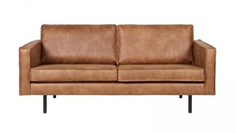 Canapé 3 places en cuir cognac, piètement en bois - Rodéo - BePureHome