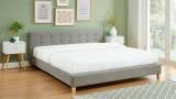 Lit adulte avec tête de lit capitonnée en tissu gris clair - sommier à lattes 180x200cm - Collection Milo