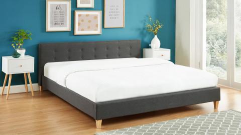 Lit adulte avec tête de lit capitonnée en tissu gris foncé - sommier à lattes 180x200cm - Collection Milo