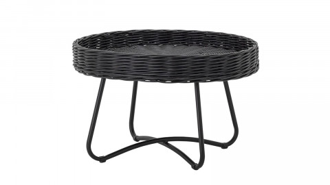 Table d'appoint ronde en rotin noir - Bloomingville