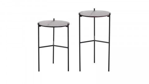 Lot de 2 tables d'appoint rondes en verre piètement en métal noir - Collection Cille - Bloomingville