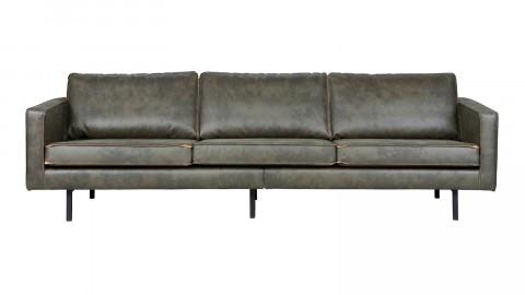 Canapé 4 places en cuir, piètement en bois et couleurs kaki - Collection Rodéo - BePureHome