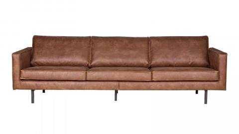 Canapé 4 places en cuir cognac, piètement en bois - Rodéo - BePureHome