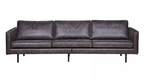 Canapé 4 places en cuir noir, piètement en bois - Collection Rodéo - BePureHome