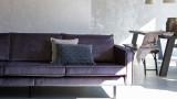 Canapé 3 places en velours gris anthracite, piètement en bois - Collection Rodéo - BePureHome