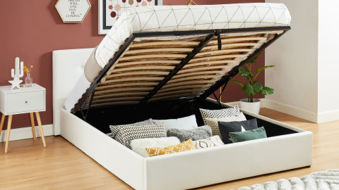 Lit coffre 160x200cm en simili cuir blanc avec tête de lit et sommier à lattes - Collection Antoine