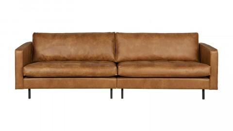 Canapé 3 places en cuir cognac, piètement en bois - Collection Rodéo - BePureHome