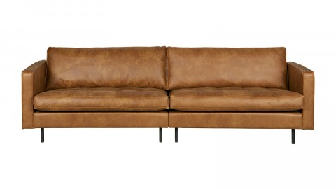 Canapé 4 places en cuir cognac, piètement en bois - Collection Rodéo - BePureHome