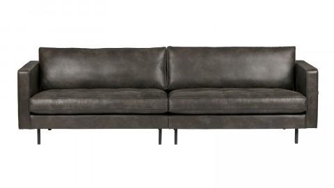 Canapé 3 places en cuir noir, piètement en bois - Collection Rodéo - BePureHome