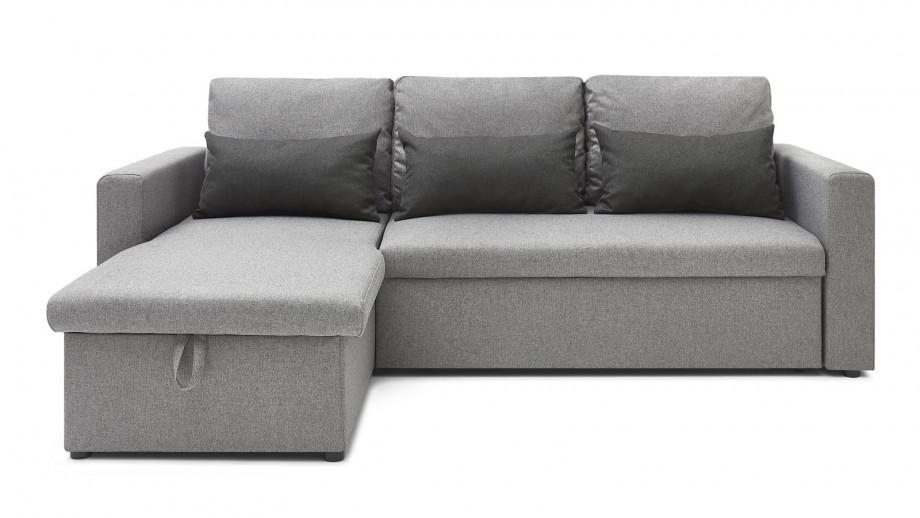 Canapé d'angle réversible convertible 3 places en tissu gris clair + coffre de rangement - Collection Foster