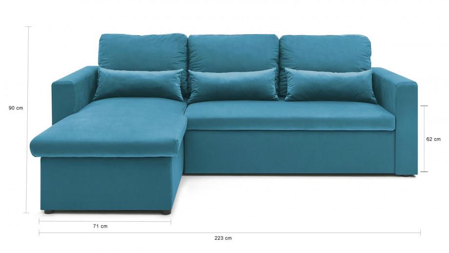 Canapé d'angle réversible convertible 3 places en velours bleu azur + coffre de rangement - Collection Foster