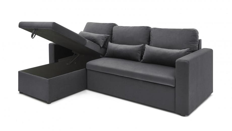 Canapé d'angle réversible convertible 3 places en velours gris graphite + coffre de rangement - Collection Foster