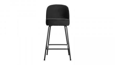 Tabouret de bar 65cm en velours noir - Vogue - BePureHome