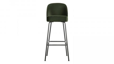 Tabouret de bar 80cm en velours vert - Collection Vogue - BePureHome