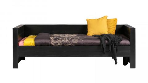 Lit canapé en pin laqué noir - Collection Dennis - Woood