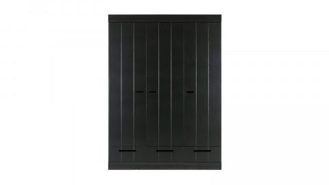 Armoire 3 portes 3 tiroirs en pin noir - Collection Connect - Woood
