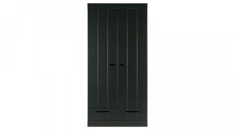 Armoire 2 portes 2 tiroirs en pin noir - Collection Connect - Woood