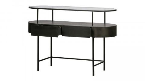 Console avec tiroirs en métal noir et verre - Collection Imani - Woood