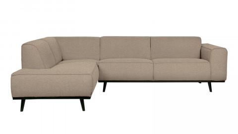 Canapé d'angle gauche 5 places en tissu bouclé beige - Collection Statement - BePureHome