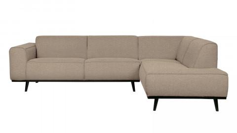 Canapé d'angle droit 5 places en tissu bouclé beige - Collection Statement - BePureHome