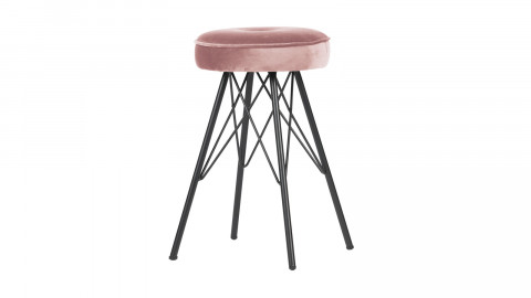 Tabouret en velours rose piètement en métal - Collection Bella - Woood
