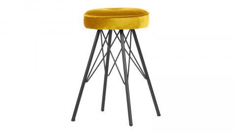 Tabouret en velours jaune piètement en métal - Collection Bella - Woood