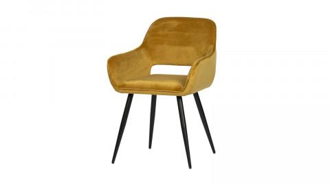 Lot de 2 chaises avec accoudoirs en velours jaune - Collection Jelle - Woood