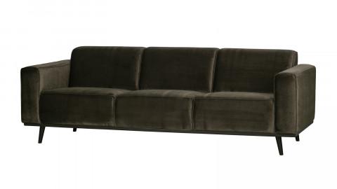 Canapé droit 5 places en velours vert chaud - Collection Statement - BePureHome