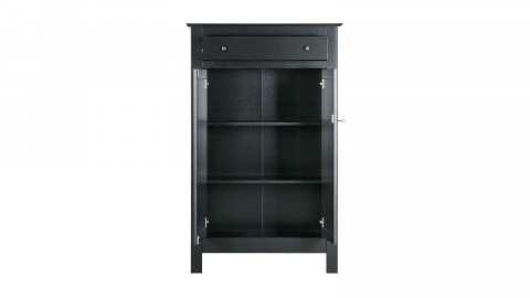 Armoire 2 portes 1 tiroir en pin laqué noir - Collection Eva - Woood