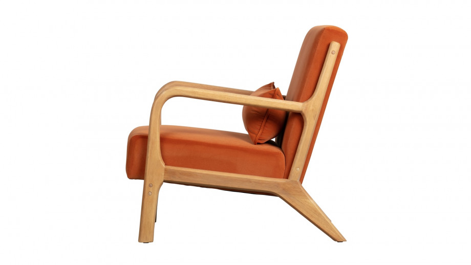 Fauteuil en velours orange et bois - Collection Mark - Woood
