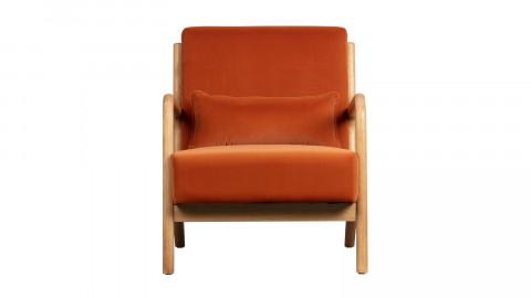 Fauteuil en velours orange et bois - Collection Mark - Woood