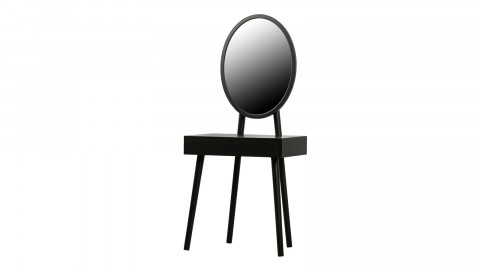 Coiffeuse 1 tiroir miroir ovale en pin noir - Collection Vanity - Woood