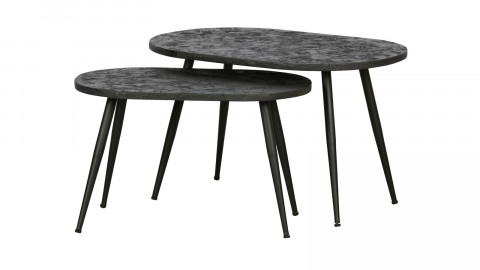 Lot de 2 tables gigognes en contreplaqué noir - Collection Lay - BePureHome