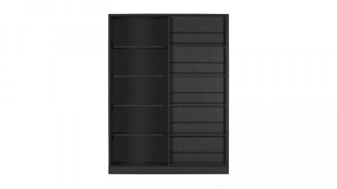 Armoire 1 porte coulissante en pin mat noir - Collection Swing - Woood