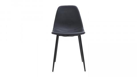 Lot de 4 chaises en simili cuir noir piètement en métal noir - Collection Found