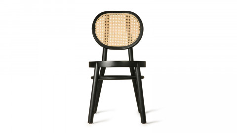 Chaise en bois noir et cannage - Hk Living