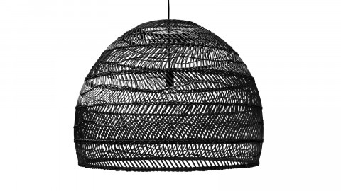 Suspension ronde L en rotin noir - Hk Living