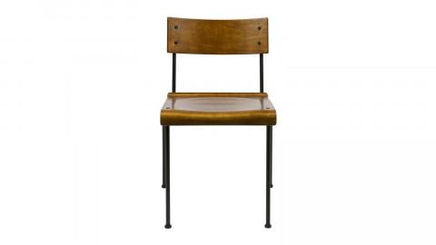 Lot de 2 chaises en bois, piètement en métal noir - Collection Teach