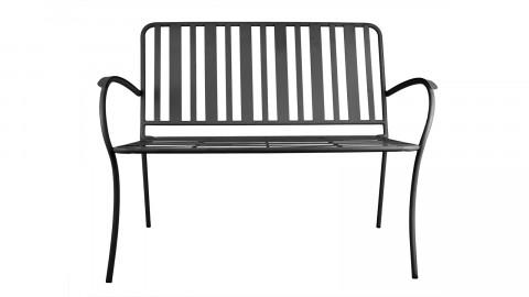 Banc de jardin en métal noir mat - Collection Lines - Leitmotiv