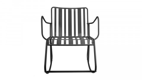 Rocking chair de jardin en métal noir mat - Collection Lines - Leitmotiv